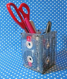 Upgrade Cassette Tapes By Making Them Pen And Pencil Holders...and other household diy upgrades