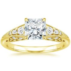 Radiant Cut Serafina Vintage Inspired Diamond Engagement Ring - 18K Yellow Gold