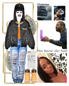 """""""Shawty bad asl, yeah!"""" by riniecias on Polyvore featuring WearAll, Versace, A.V. Max, October's Very Own, Timberland, Huda Beauty and Lime Crime"""