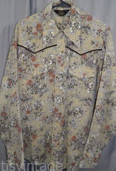 264fbbde Vintage Sears 1970's Western Wear Pearl Button Snap Medium  Polyester Shirt
