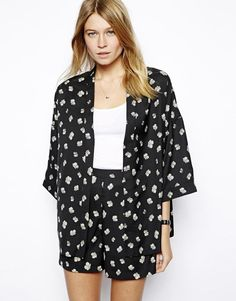 ASOS Kimono in Monochrome Floral Print with matching shorts