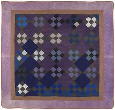 Amish nine patch quilt, early c., x Pook & Pook Amische Quilts, Sampler Quilts, Denim Quilts, Antique Quilts, Vintage Quilts, Vintage Sewing, Amish Quilt Patterns, Nine Patch Quilt, Purple Quilts