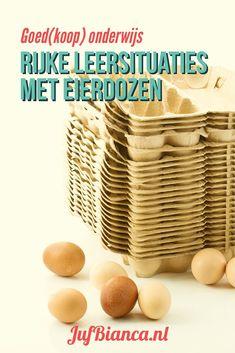 Op JufBianca.nl zijn al meerdere berichten verschenen in de serie Goed(koop) onderwijs. In het tijdschrift Praxisbulletin van juni 2014 schreef ik een artikel over activiteiten met eierdozen. Weet je dat je ze voor veel meer kunt gebruiken dan alleen knutselen? #JufBianca