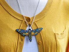Death's Head Moth Necklace by AbbiesAnchor on Etsy