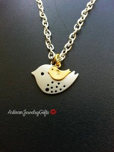 Mom and baby bird engraved initial necklace