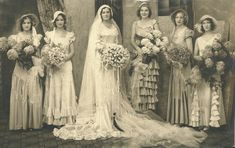 This is such a stunning photo of the bride and her bridesmaids.  I love the variety of styles of dresses.  Detroit Wedding, c. 1920s  (if you know who the ladies are, please click the link to help identify them)