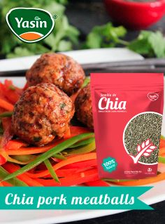 Chia Seed Pork Meatballs with Spicy Ginger-Soy Glaze.