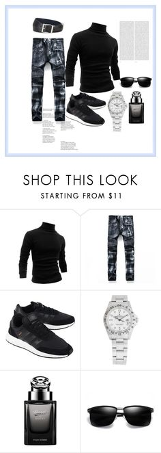 """Men set"" by emypoyvore ❤ liked on Polyvore featuring Allegra K, adidas Originals, Rolex, Gucci, Oris, Prada, men's fashion and menswear"