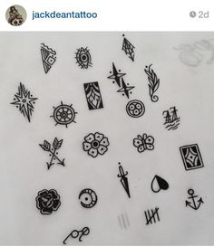 Tattoo flash for finger tattoos