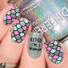 Beautiful nail art designs that are just too cute to resist. It's time to try out something new with your nail art. Nail Art Designs, Long Nail Designs, Hot Nails, Hair And Nails, Gorgeous Nails, Pretty Nails, Nail Art Rosa, Mermaid Nail Art, Nails For Kids
