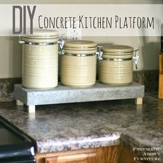 Cheap and easy to make, a concrete kitchen platform can be used to elevate just about anything around the house. DIY