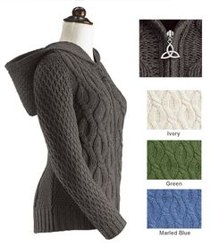 Irish Cable Knit Sweater Women Women's cable-knit hoodie sweater the classic texture of irish knitting has