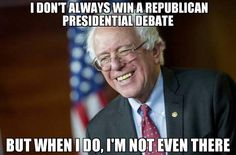 "Well, let's look at what the GOP considers the ""best of the best"". I don't mean to knock you down a peg, Bernie, but pretty much any rational American could win that debate. #feeltheBERN2016"
