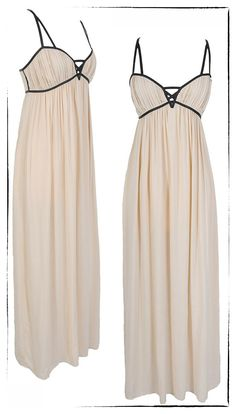 Light Peachy Pink Maxi Dress with Black Details. Love this dress for so may occasions!