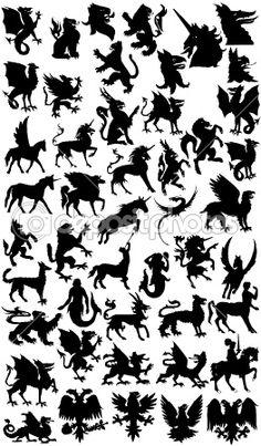 Mythological animal silhouettes