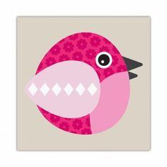 almofada para quarto de bebe quadro pink bird 1