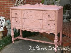 So excited our site is getting a makeover! RedBarnEstates.com Love this shabby pink buffet!