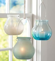 Sea Glass Hanging Votives