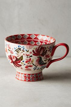 Wing & Petal Mug, You are able to enjoy break fast or various time times using tea cups. Tea cups also have ornamental features. Whenever you consider the tea pot designs, you will dsicover that clearly. Ceramic Pottery, Ceramic Art, Coffee Cups, Tea Cups, Motif Vintage, Keramik Vase, My Cup Of Tea, Cute Mugs, Mug Cup