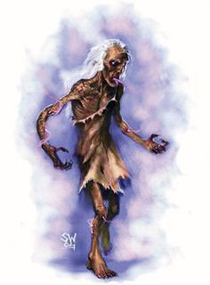 Fear Gorta- Irish myth: a phantasmic emaciated man that represented hunger. he walks the earth during times of famine and asked passers-by for alms. he then grants good luck to generous individuals.