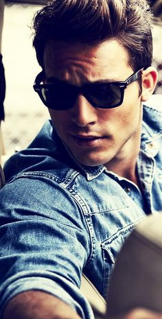 Denim shirt and sunglasses.