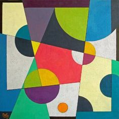 """Saatchi Art Artist Stephen Conroy; Painting, """"Geometric Abstract with Hot Pink"""" #art"""