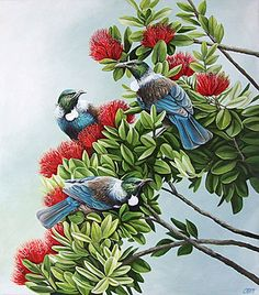 Art by the Sea art gallery specializes in fine NZ arts and crafts, with a huge range of original, fine New Zealand and Maori arts and crafts. Nz Art, Art For Art Sake, Tui Bird, Kunst Der Aborigines, Bird Artists, Kunst Inspo, New Zealand Art, Maori Art, Tree Illustration