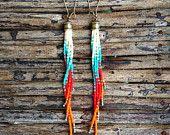 Long Seed Bead Earrings, Tribal Earrings, Native American Inspired, Bohemian, Bohemian Fashion, Gypsy, Hippie, Free People, Long Fringe