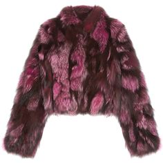 Pologeorgis The Cate Magenta Fur Coat ($1,200) ❤ liked on Polyvore featuring outerwear, coats, burgundy, fur coat, pologeorgis, cropped coat, burgundy fur coat and cropped fur coat