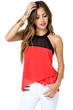An airy and sophisticated chiffon halter top, featuring a colorblocked body and asymmetrical layered hem. Sheer. Sleeveless. Keyhole opening at back with single button-loop closure. Unlined.