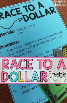 to Practice Counting Coins Race to a Dollar FREEBIE plus many more ideas and activities to practice counting coins.Race to a Dollar FREEBIE plus many more ideas and activities to practice counting coins. Preschool Math, Math Classroom, Teaching Math, Teaching Ideas, Future Classroom, Kindergarten Math, Maths, Classroom Ideas, Money Activities