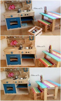 Eye Catching Wood Shipping Pallet Ideas - Think about arranging a pallet kids kitchen and furniture in your house settings that would make yo - Pallet Kids, Wood Pallet Art, Diy Pallet Furniture, Diy Pallet Projects, Wood Pallets, Pallet Patio, Kitchen Furniture, 1001 Pallets, Cheap Furniture