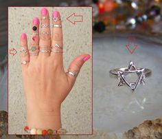 Star of DAVID Midi Ring Above Knuckle Ring, 925 Sterling Silver  http://stores.ebay.ie/SilverTrend4U?_rdc=1
