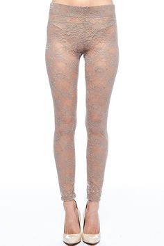 Womens See Through Floral Lace Tights Long Leggings Pants RB4067 (S, Mocha) at Amazon Women's Clothing store: