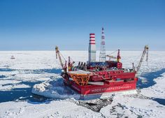 Prirazlomnaya, the only platform producing oil in the Russian Arctic Shelf.