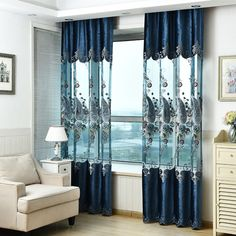 European Embroidered Curtains For Living Room Curtains For Bedroom Cortina Drapes Window Treatments New Chenille+Tulle Curtain