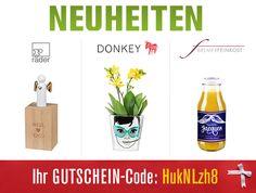NEUES von Räder Design, Donkey Products uvw.  In unserem Geschenke- und Lifestyle Webshop erwarten Sie wieder viele NEUHEITEN. Und mit dem folgenden Geschenke-Gutschein erhalten Sie 15 % Rabatt auf alle Produkte (sogar auf die AKTIONSANGEBOTE). Es lohnt sich also ein wenig zu stöbern :-).  Gutschein-Code: HukNLzh8  http://www.hals-ueber-krusekopf.de/xist4c/web/neuheiten-2014-raeder-design-philippi-asa-selection_id_13344_.htm