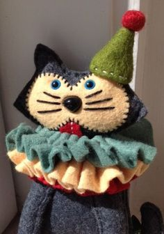 Handmade miniature felt Circus Cat Blue doll. by TheBigForest, £45.00. Love love love this little guy.