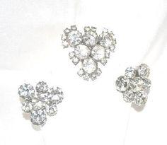 Old Rhinestone Brooch W/Earrings - pinned by pin4etsy.com