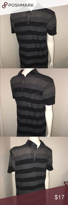 "Men's Burnside gray and black striped polo shirt M Thank you for viewing my listing, for sale is a men's, short sleeve, polo shirt. Shirt is black and gray striped.  Excellent condition no rips or stains, if you have any questions or would like additional photos please feel free to ask.  Brand: Burnside Sz: M  From under one arm to under the other measures appx 19"" from the top of the shoulder to the bottom of the shirt measures appx 27"" burnside Shirts Polos"