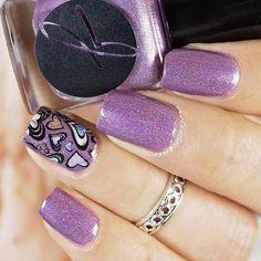 holo polish, purple, hearts, stamping, reverse stamping, mani, nails