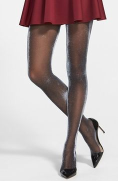 See more at Fashion Tights OROBLU 'DIAMONDS' TIGHTS A bright, all over shimmer attracts the light in these mesmerizing semi-sheer tights. Silk Stockings, Black Stockings, Sheer Tights, Black Tights, Nude Tights, Opaque Tights, Glitter Fashion, Nylons And Pantyhose, Fashion Tights
