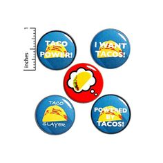 Taco Buttons 5 Pack of Lapel Pins Cool Brooches Cute Pins Badges Funny Foodie Pinbacks Gift Set 1 Inch