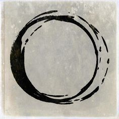 Enso No. 107 Black On Taupe Painting