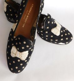 Stubbs & Wooton Stubbs and Wooton Palm Beach Needlepoint Slippers Shoes Hand made Loafers Flats Lux Bow Motif 9 M