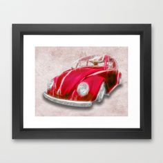 VW Beetle Red Framed Art Print by Alice Gosling - $37.00Available as print, canvas or framed, with a choice of frame color #walldecor #print #canvas #wallart #VW #Volkswagen #car #beetle #red