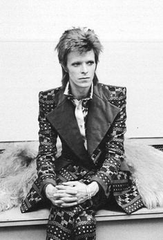 David Bowie posing for a portrait shot at RCA Studios, New York, 1973.