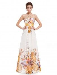 Strapless Rhinestones Ruched Waist Floral Printed Ladies Party Dress