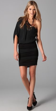 Alice + Olivia One Shoulder Ruched Dress available on Stylmee for iPad