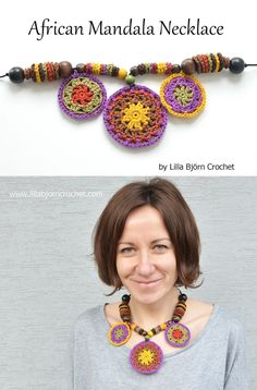 African Mandala Necklace - free pattern by Lilla Bjorn Crochet